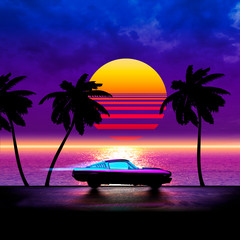 Retrowave running car on a palms road near the sea on a sunset - composite illustration