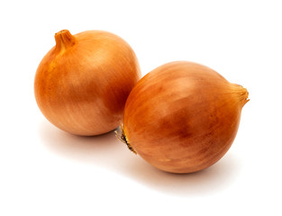 Orange onion vegetable closeup on white background