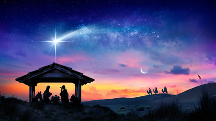 Tuinposter Kameel Nativity Of Jesus - Scene With The Holy Family With Comet At Sunrise
