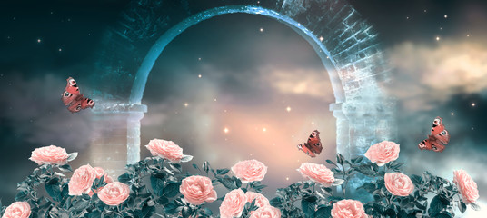 Zelfklevend Fotobehang Roses Fantasy fabulous panoramic banner background of magical night sky with shining stars, clouds and roses garden and peacock eye butterflies against magical mirage of old stone ruins of ancient gate