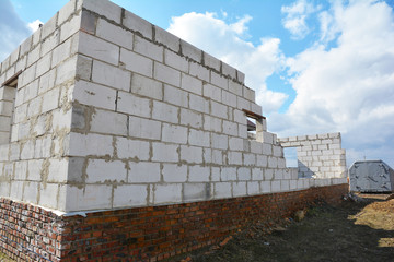 Bad construction destroys a house wall, consruction defects from autoclaved aerated concrete blocks, brick wall failure. Poorly built house with broken wall