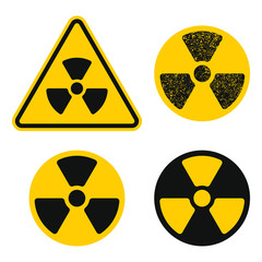 Yellow and black grunge Radioactive radiation warning icon symbol shape. Atomic energy nuclear danger caution logo sign. Vector illustration image. Isolated on yellow background.