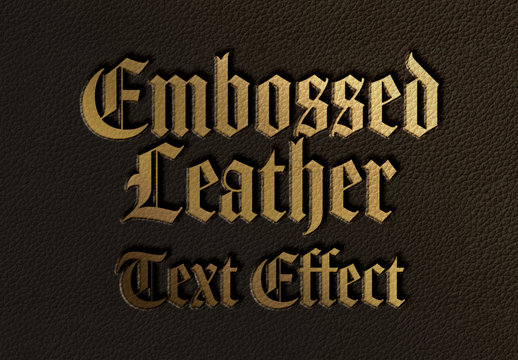 Black Leather Stamp Golden Text Effect