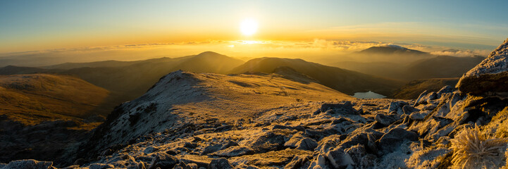 Sunrise panorama over the Snowdonia National Park in the winter, Wales- UK