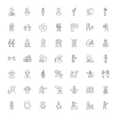Life coach line icons, signs, symbols vector, linear illustration set