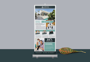 Roll-Up Banner Layout with Teal Accents