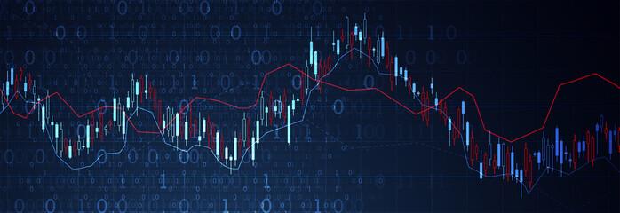 Financial trade concept. Stock market and exchange. Candle stick graph chart. Papier Peint