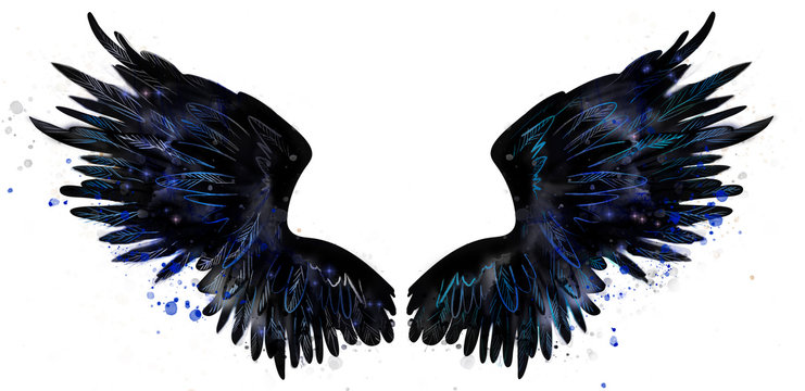 Beautiful black magic raven wings watercolor drawing