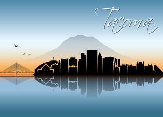 Fototapete - Tacoma skyline - Washington, United States of America, USA - vector illustration