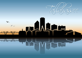 Fototapete - Tallahassee skyline - Florida, United States of America, USA - vector illustration
