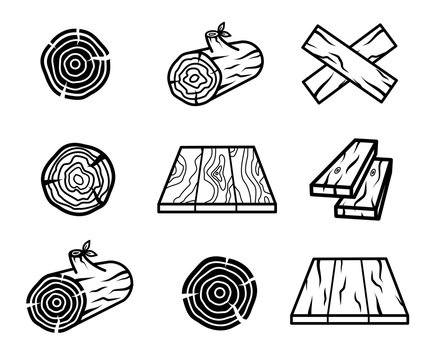Wood planks, flooring and logs icon set vector collection