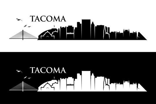 Tacoma skyline - Washington, United States of America, USA - vector illustration