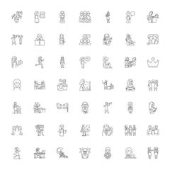 Femenism line icons, signs, symbols vector, linear illustration set