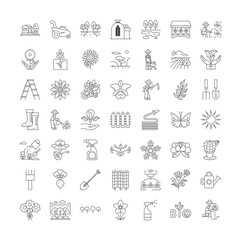 Garden line icons, signs, symbols vector, linear illustration set