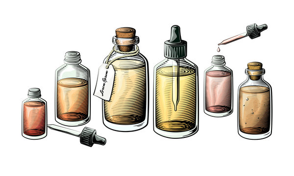 Small extracts, essential oil or medicine bottle set. Bottles filled with liquid vector illustration.