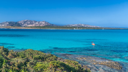 Panoramic view of La Pelosa beach in Stintino, turquoise clear water, mountains in the background. Kayaking in the sea. Sassari, Sardinia, Italy.