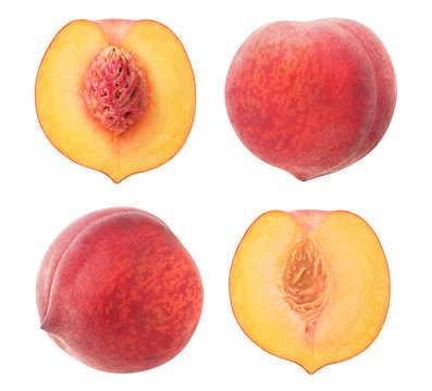 isolated peach collection. Whole fruits and halves isolated on white background with clipping path