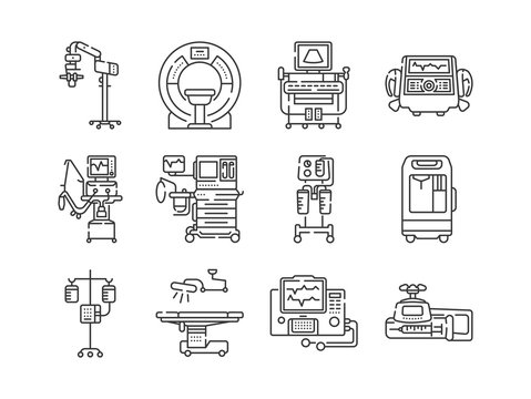 Medical devices line black icons set. MRI, anesthesia machine, syringe pump, dropper, defibrillator, Signs for web page, mobile app. Vector isolated elements. Editable stroke.
