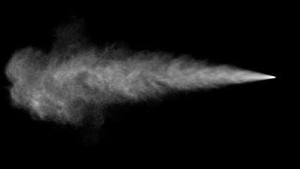 VFX plate photo of spray blast on black background, fountain of vaporized foam particles