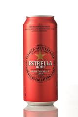 MINSK, BELARUS - NOVEMBER 20, 2019: Estrella Damm beer in can on a white background. Estrella Damm is a pilsner beer, brewed in Barcelona