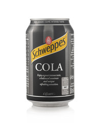 Minsk, Belarus - November 20, 2019: Aluminium can of the Schweppes Cola isolated over white background.