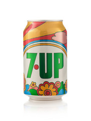 Minsk, Belarus - November 20, 2019: Can of carbonated drink 7 Up. Brand of lemon-lime flavored, non-caffeinated soft drink created by Charles Leiper Grigg in 1929