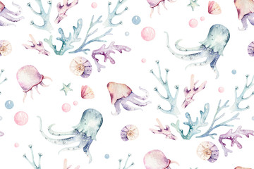 Sea animals blue watercolor ocean seamless pettern fish, turtle, whale and coral. Shell aquarium background. Nautical starfish marine illustration
