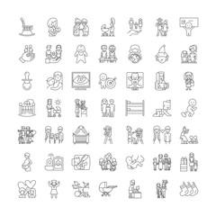Maternity line icons, signs, symbols vector, linear illustration set