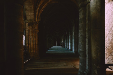 View to the passage in a Paris temple