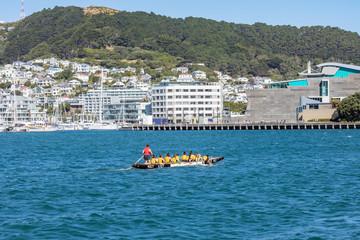 Drachenboot vor der Wasserfront von Wellington in Neuseeland auf der Nordinsel