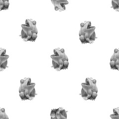 Frog Sculpture Photo Motif Seamless Pattern Design