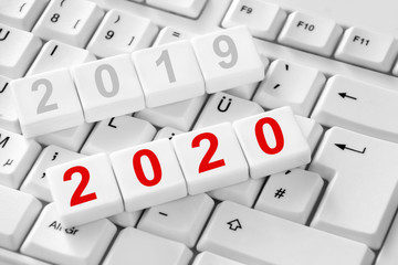 New year 2020 and keyboard