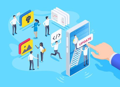 isometric vector image on a blue background, a team of people working on the development of updates for a mobile application, a male hand clicks on the smartphone screen