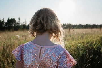 The back of a young girl walking through a field in a sparkly dress