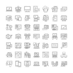 Server icons line icons, signs, symbols vector, linear illustration set