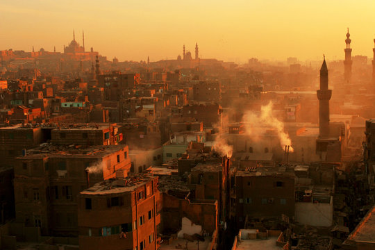 Aerial view of the market and down town Cairo at sunset, Cairo, Egypt
