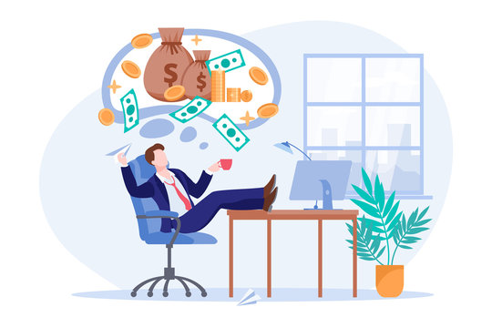 Investor thinks about money profit or investment income. Office worker dreams of passive income. Vector illustration