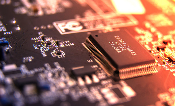 Modern printed circuit board, electronic circuit board, textolite. Background banner.