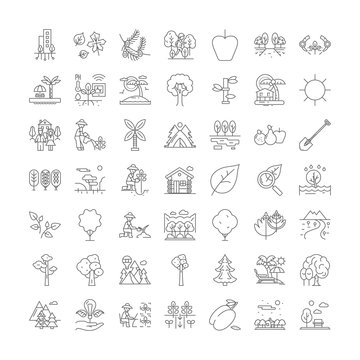 Plants and trees line icons, signs, symbols vector, linear illustration set