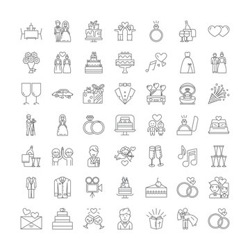 Wedding line icons, signs, symbols vector, linear illustration set
