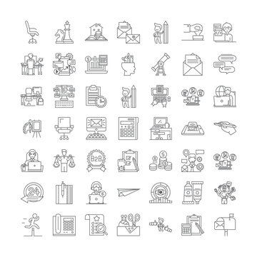 Freelancer line icons, signs, symbols vector, linear illustration set