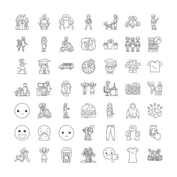 Youth people line icons, signs, symbols vector, linear illustration set