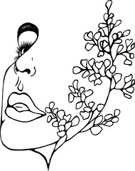 Illustration of a profile of a girl with double exposure, ginkgo biloba as an extension of her face. Abstraction.