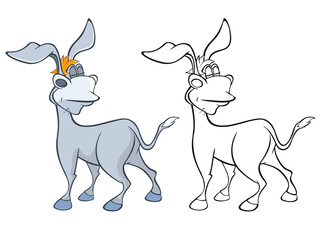 Photo sur Aluminium Le vous même Illustration of a Cute Cartoon Character Burro for you Design and Computer Game. Coloring Book Outline Set