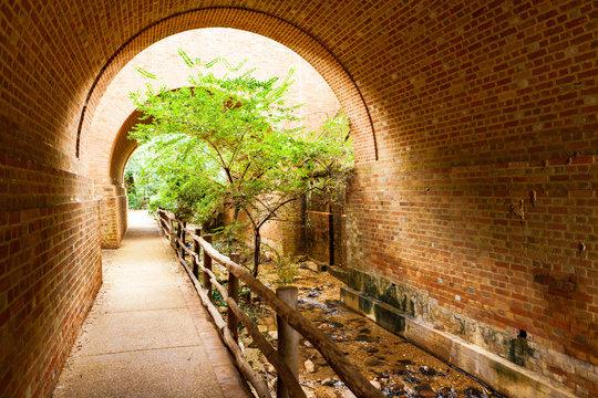The Pathway Under Bridge Arch at Williamsburg