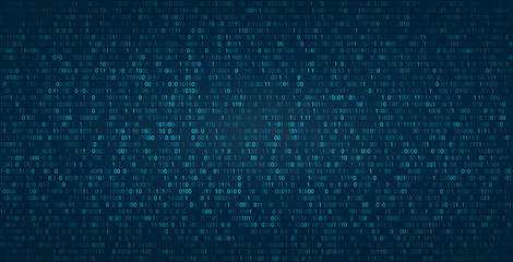 Abstract binary background for hackathon and other digital events. Fallen zero numbers with matrix effect on futuristic background.