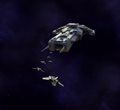 Science fiction illustration of a spaceship carrier vessel deploying single seater fighter craft, 3d digitally rendered illustration