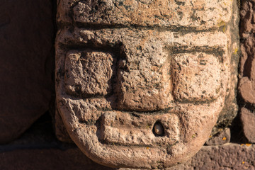 Head of the Semi-Underground Temple in Tiwanaku (Tiahuanaco), Pre-Columbian archaeological site, Bolivia