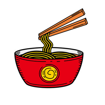 Bowl of noodle with chopstick vector illustration with colored hand drawn style isolated on white background
