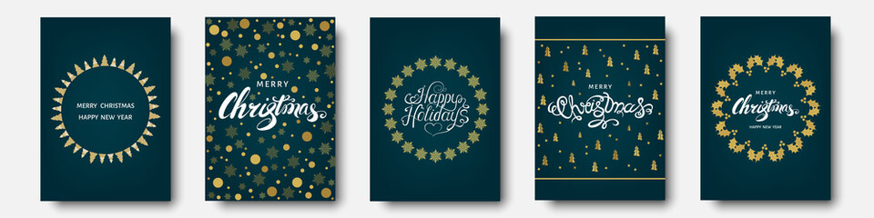 Fotomurales - Christmas card with xmas elements and decorations.